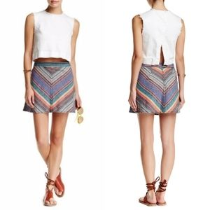 Free People Yours Truly Chevrom Mini A Line Skirt